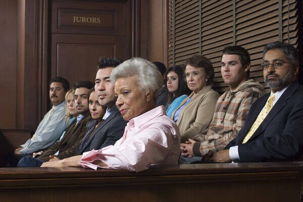 seated jury in a trial