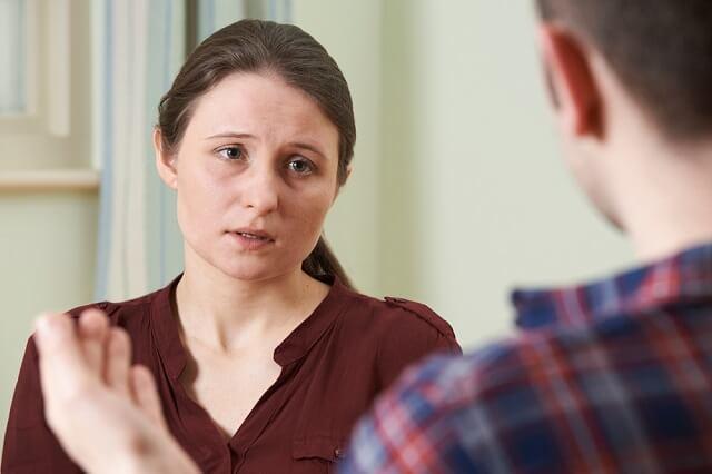 divorcing sad woman and man